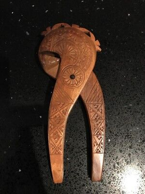 Vintage Hand Crafted Solid Carved Wood Wooden Treen  Nutcracker
