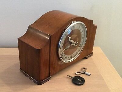 Early Chiming Mantel Clock Working With Key & Pendulum  Smiths  Enfield