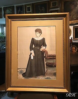 Antique Large Portrait Painting of a Victorian Lady on Silk Gilt Wooden Frame