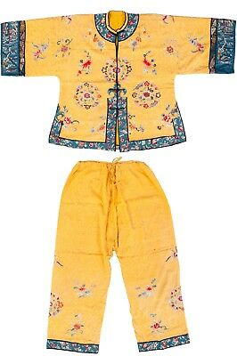 Antique Chinese Imperial Embroidered Robe And Slacks Silk Yellow Embroidery 19C