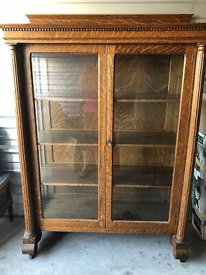 Antique Large Oak Curio Cabinet