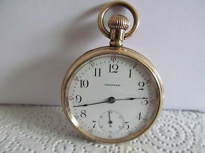 1902 Waltham Mass pocket watch gold plated very good condition and working