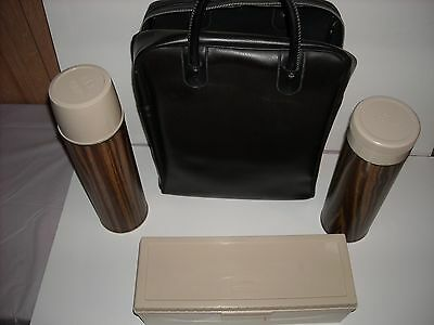 Vintage Thermos Wood Grain Lunch Set Bag 2 Drink/soup Bottles & Box Container