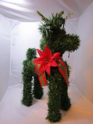 "Christmas Reindeer Green Pine Garland 15"" Reindeer Figure Vintage Holiday"