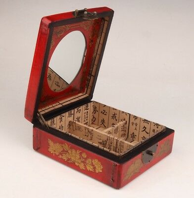 Red Leather Dragon Phoenix Royal Jewelry Box Old Collection Gift