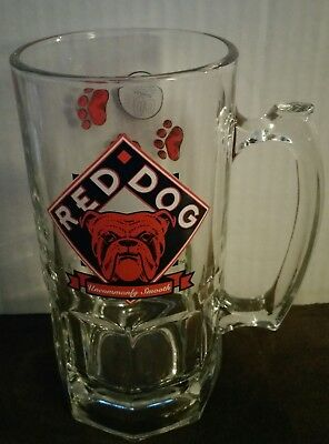 RED DOG BEER 1997 Plank Road Brewery large clear glass MUG Bulldog PROMO vintage