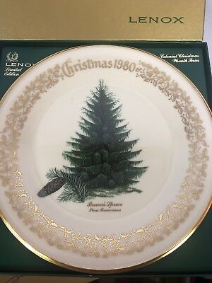 Lenox China Christmas 1980 Commemorative Issue Plate Brewer's Spruce Tree