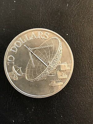 Singapore silver 10 dollars 1978 satellites crown size