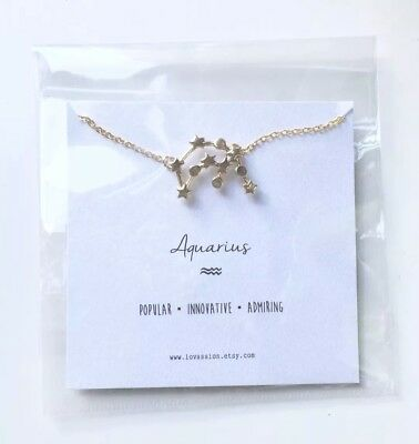 Beautiful Aquarius Star Constellation 18ct Gold Plated Necklace BNWT