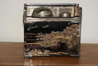 Antique Japanese Smoking Tray- Tobacco Bon with Lacquer and Silver Work