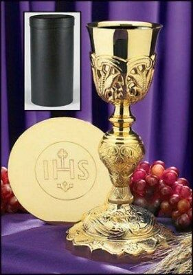 CHALICE PATEN 24k GOLD PLATED CATHOLIC PRIEST and CHALICE CASE St Mother Teresa
