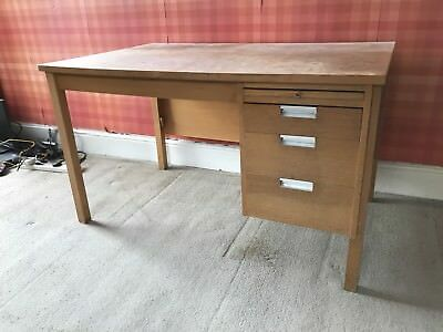 vintage wooden Teacher school desk With Drawers
