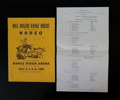 1958 WILL ROGERS RANGE RIDERS 15th Annual Rip Snortin' Rodeo Program - Texas