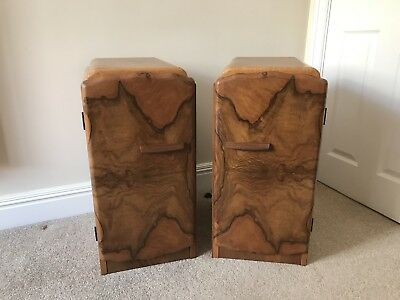 Vintage Antique Retro matching pair of  Walnut and Maple bedside cabinets
