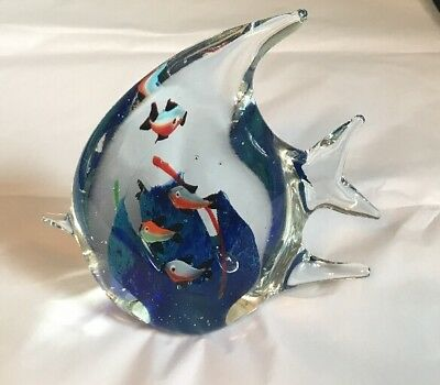 Murano Art Glass Fish Shaped Aquarium Sculpture Figurine~Paperweight