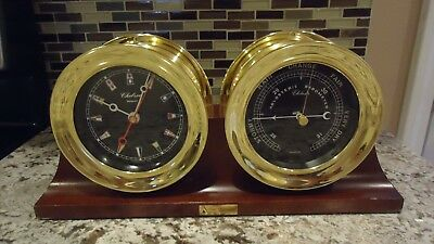 Chelsea  Newport Nautical Clock & Holosteric Barometer With Display Stand