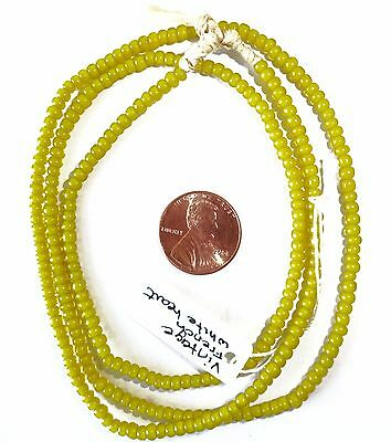 "1 Strand Vintage French Yellow White Heart Trade Seed Beads, 24"",Sz.7/0"