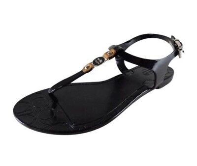 4d4025ef67c WOMENS COACH PICCADILLY Black Jelly Sandals sz 8 T Strap Flats ...