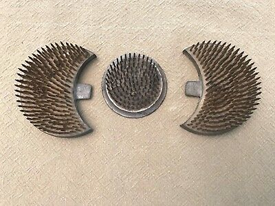 Lot of 3 Vintage Metal Flower Frogs Spikes Crescent Round