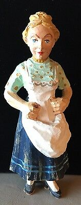 """Folk Art Wooden Farm Maiden - Naive Hand Carved 5.25 """" Tall -Vintage"""