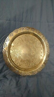 "Serving Tray Pierced Silverplate With Scroll Design apx 13"" Diameter Server"