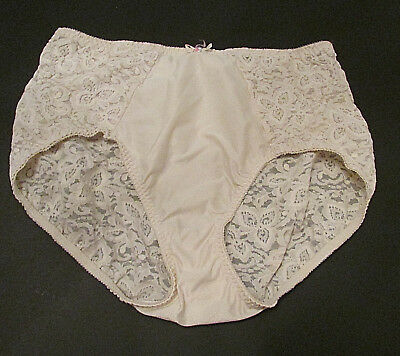VTG Bali 8432 Girdle Panty XL Light Control Brief Panties Shapewear Cream Lace