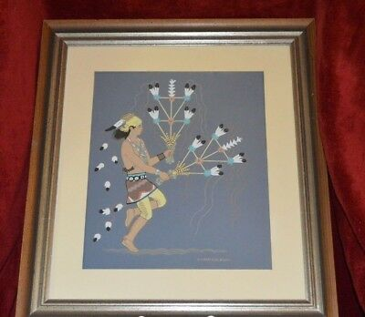 "Harrison Begay Serigraph, C.1950, 10"" X 12"" Framed, ""navajo Feather Dancer"""