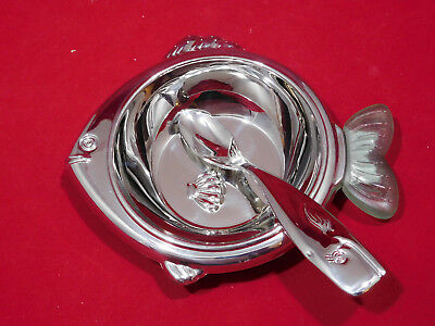 Reed & Barton SeaTails Fish Bowl & Whale Feeding Spoon Set 18/8 Stainless Steel
