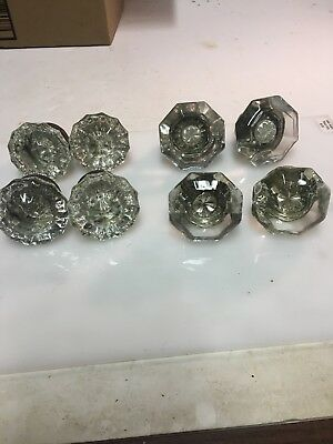 LOT OF 8 Vintage Glass Door Knobs:  They Make Up 4 Pair .one