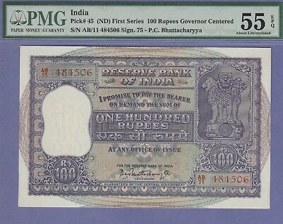 India 100 Rupee's Banknote ND About Uncirculated Grade,PMG-55-PPQ Cat#45