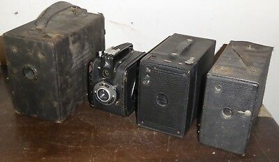 4 antique box cameras, includes Gevabox, early Brownie & 2 unidentified