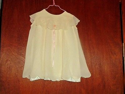 Vtg Beautiful Lime Color Scalloped Hem & Collar  Baby Or Doll Dress