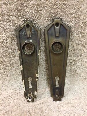 Vintage Pr Chippy Stamped Steel Art Deco Door Knob Back Plates Escutcheons