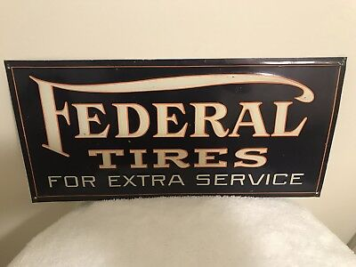 Beautiful Rare 1920's Federal Tires Metal Advertising Sign, Awesome Original!