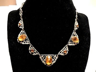 Vintage Elegant ANTIQUE Art Nouveau Filigree Necklace MINT