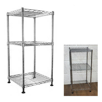 64x30x30cm Real Chrome Wire Rack Metal Steel Kitchen Garage Shelving Racks S247