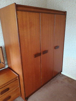Vintage Retro White and Newton Teak Triple Wardrobe in VGC