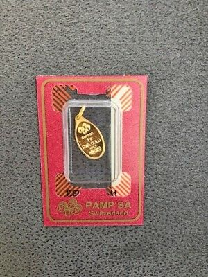 Gold Bar PAMP SA Suisse 1g 999.9 Fine Gold Pendant