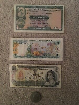 Foreign Currency Lot Bahamas Canada Hong Kong Russia