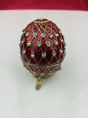 Detachable RED Bejeweled Egg beautifully crafted Collectible with Stand VGC