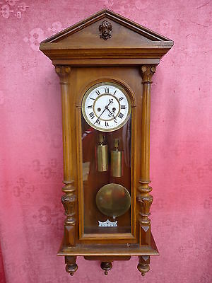 Beautiful,Old Pendulum Clock __Regulator_ with and 2 Weights__Viennese Regulator