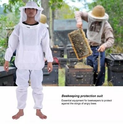 Large Bee Keeping Full Body Protect Suit Jacket Pants Hood Veil Hat White Wasp