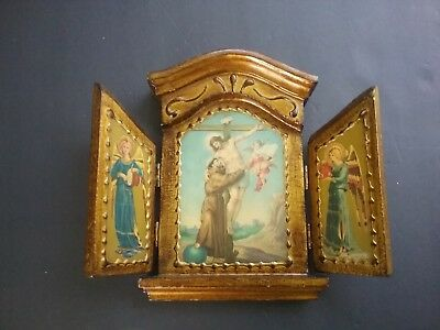 tole wood florentine triptych icon jesus angels antiqued gold gilt raised motif