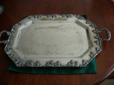 Antique Victorian Silver Butlers Tray Large Grape and Leaf Border