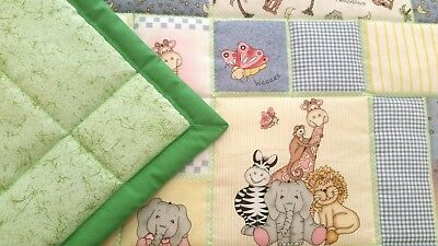 """NEW HANDMADE """"BAZOOPLES"""" 35x43in COTTON UNISEX BABY/TODDLER  QUILT -GIFT IDEA"""