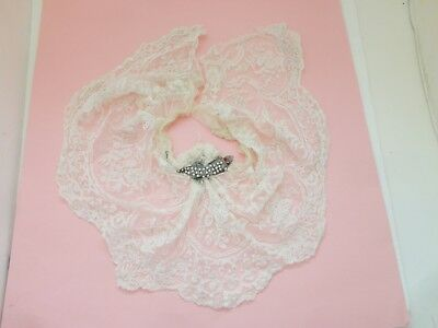 Edwardian Victorian Antique Net Lace W Beaded Accent Crafts Dolls Art Projects