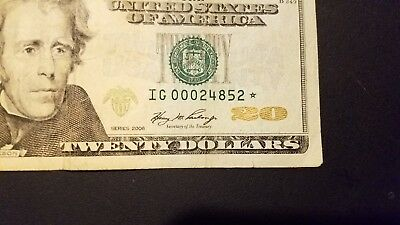 20 dollar *star note*  low number (I G 00024852*)