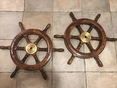 2 Vintage Wooden Boat Ship Steering Wheel Fishing Net Home Wall Nautical Decor