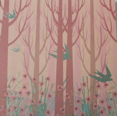 """2 Sheets Of Craft 8""""x 8"""" Scrapbooking Or Card Making Paper - Glitter Birds"""