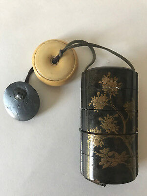 Antique Japanese Inro Meiji Four Compartment Top Quality 春明 Shunmei Signed Ojime